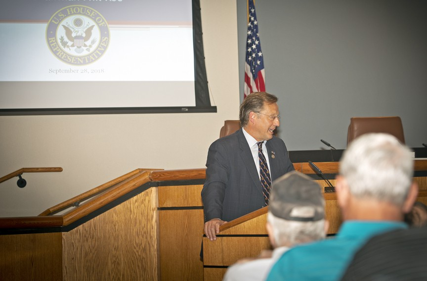 Dave Brat held a veterans' town hall Sept. 28 at the Henrico County government complex. About 70 people showed up. - ASH DANIEL