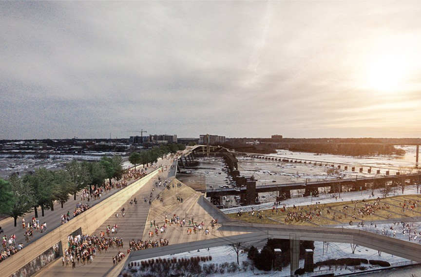 The centerpiece of the BridgePark plan would be a reconfigured Manchester Bridge, shown looking south toward Manchester. New construction would extend the bridge to the west to create a plaza. An elaborate series of ramps would connect the bridge with Brown's Island, a distance the equivalent to five stories. - RICHMOND BRIDGEPARK FOUNDATION