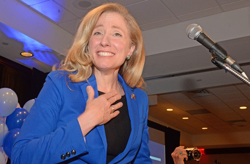 Congresswoman-elect Abigail Spanberger greeted supporters before delivering her victory speech Nov. 6. - SCOTT ELMQUIST
