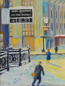 """The Corner,"" a 2008 painting by William P. Schubmehl, features the clock at the First National Bank Building and at East Main and Ninth streets after a snowfall, from a private collection."