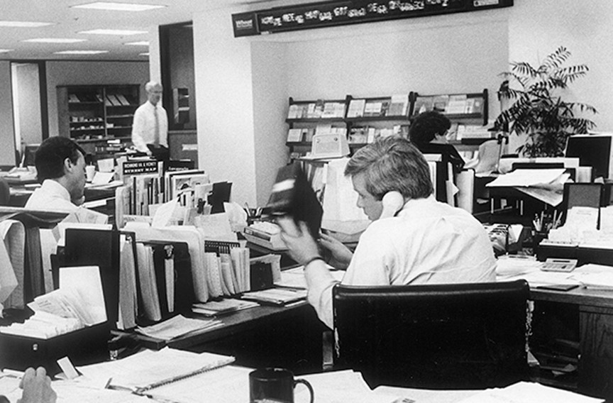 The bullpen at Wheat First Securities, May 6, 1987.