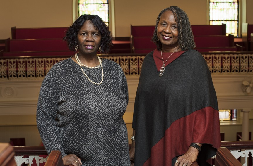 Sisters Glennys E. Fleming and Renee Fleming Mills, Ebenezer Baptist Church, 2017. - BRIAN PALMER