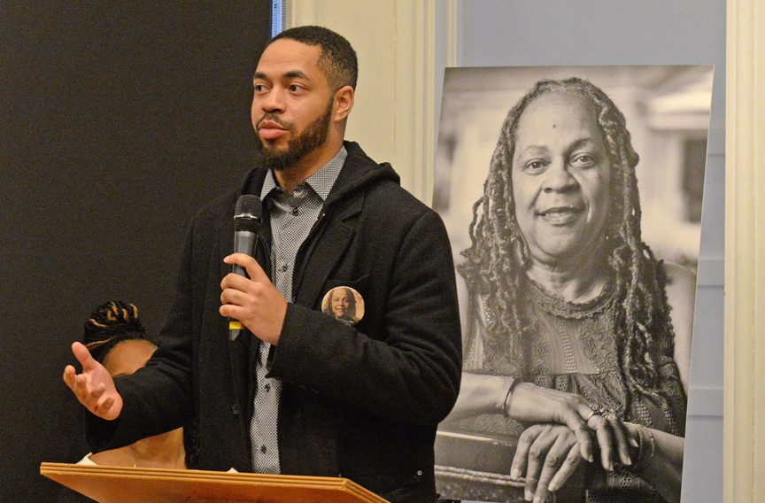 Tobias Estes, son of Lillie A. Estes, speaks during a celebration of her life. Estes has been living in Arlington but says he would like to seek office in Richmond, the city where he grew up. - SCOTT ELMQUIST