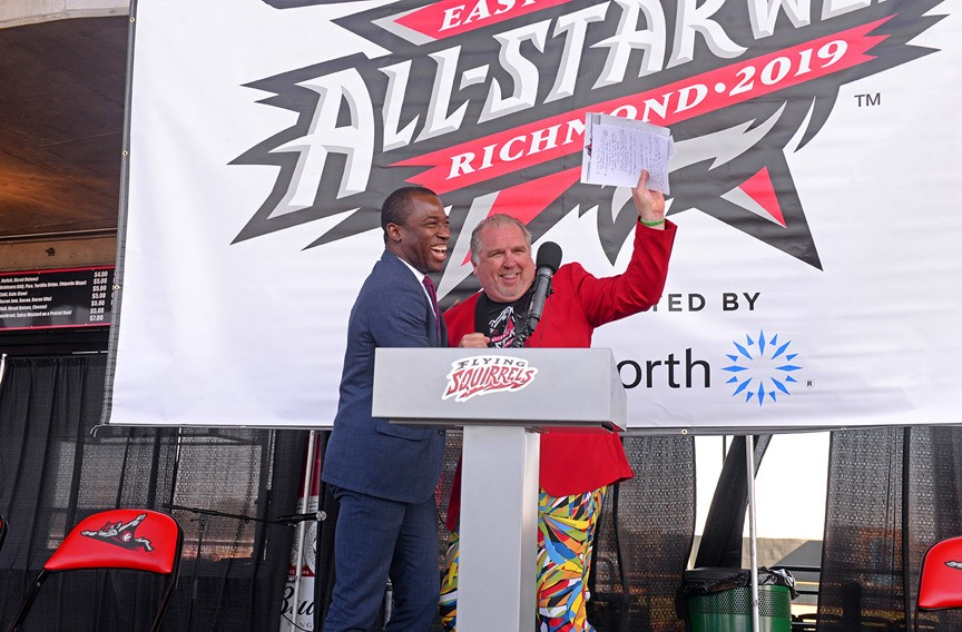 "Mayor Levar Stoney with Richmond Flying Squirrels' Vice-President and Chief Operating Officer Todd ""Parney"" Parnell during a ceremony to announce that the Squirrels are playing host to the 2019 Eastern League All-Star Week in July. It will feature events including a country music jam at Richmond Raceway, celebrities and the all-star game. - SCOTT ELMQUIST"
