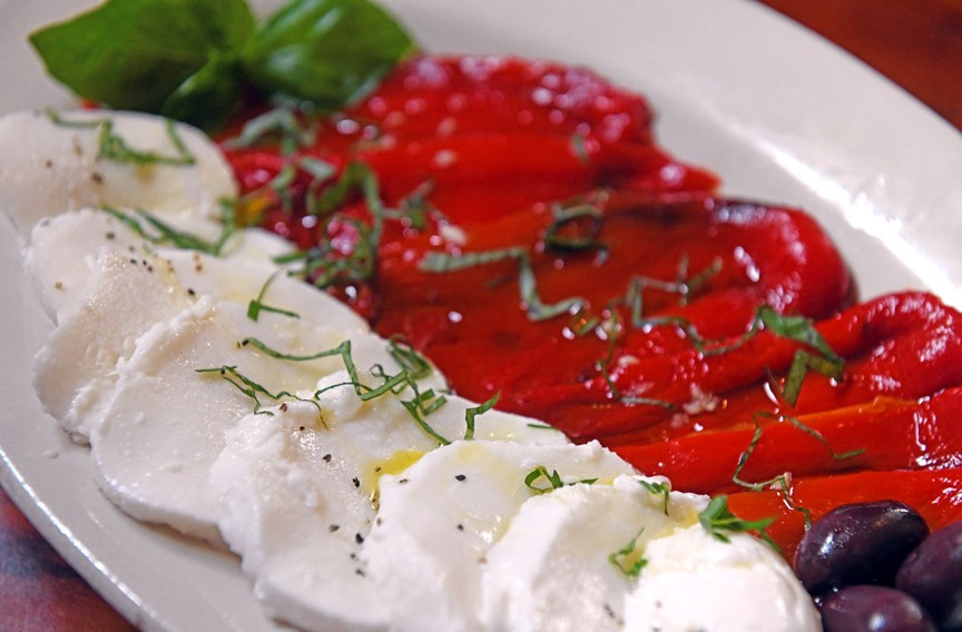 Roasted red peppers with fresh mozzarella - SCOTT ELMQUIST