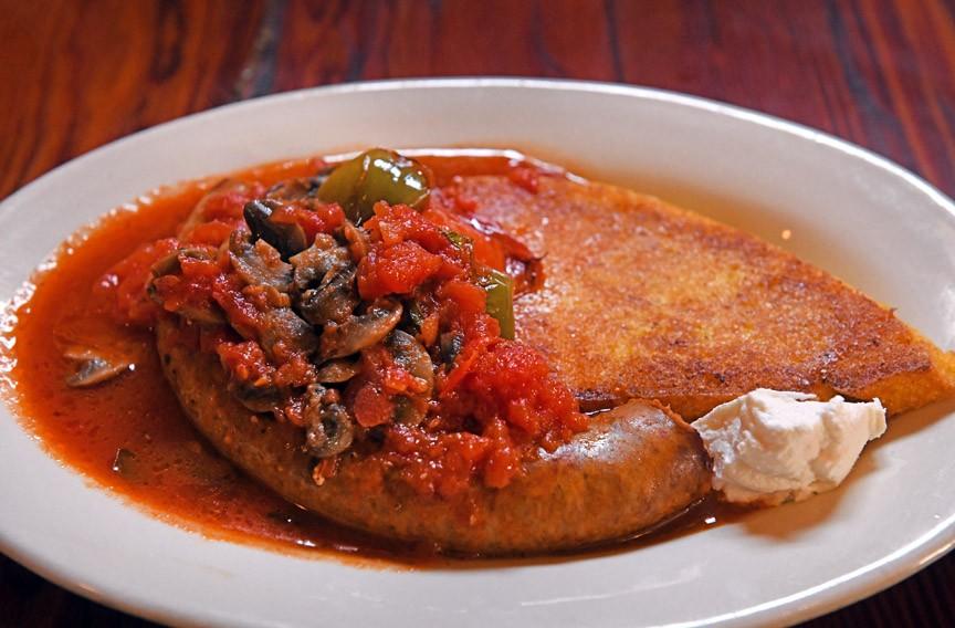 Spicy Italian sausage with polenta - SCOTT ELMQUIST