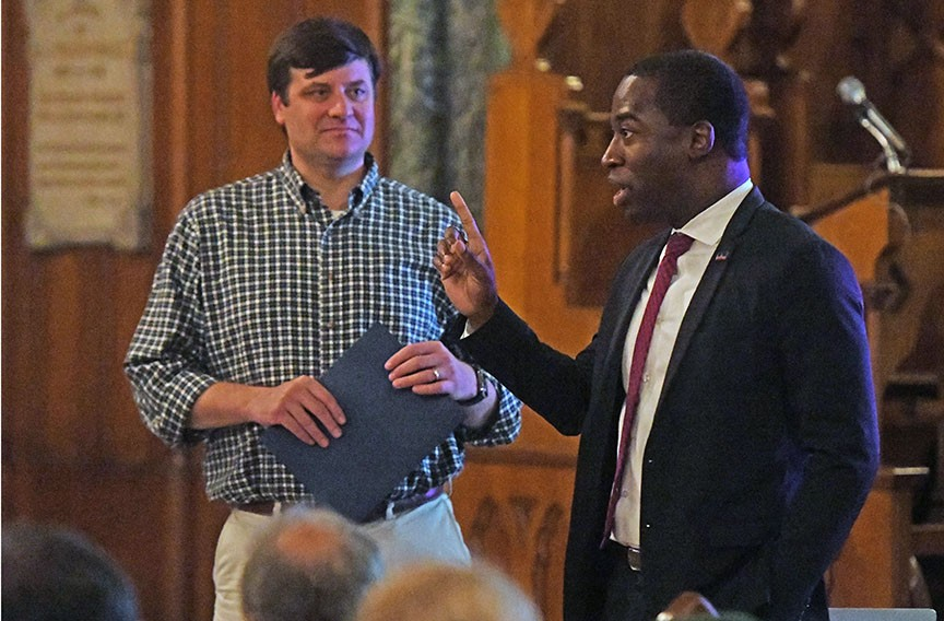 Mayor Levar Stoney and outgoing 5th District City Councilman Parker Agelasto at the Oct. 24 residents meeting at St. Andrew's Episcopal Church in Oregon Hill. The winner of the Nov. 5 election will complete the remaining 13 months of Agelasto's term. - SCOTT ELMQUIST