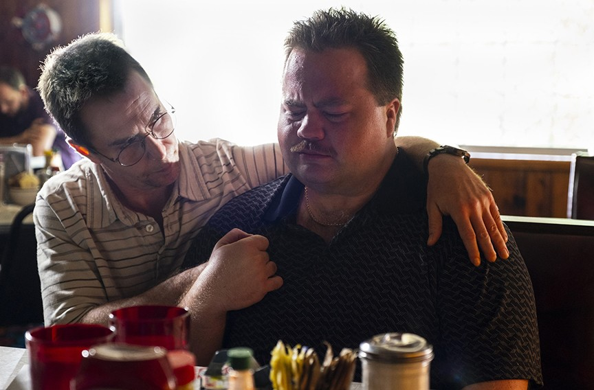 "Sam Rockwell as Watson Bryant and and Paul Walter Hauser as Richard Jewell in ""Richard Jewell."""