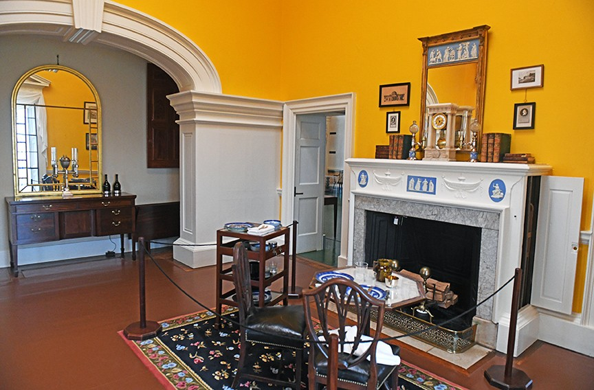 Jefferson's grand, chrome-yellow dining room is illuminated by one of Monticello's 13 skylights. Beer and cider would have been served alongside French cuisine. Wine service would have followed dinner. - SCOTT ELMQUIST