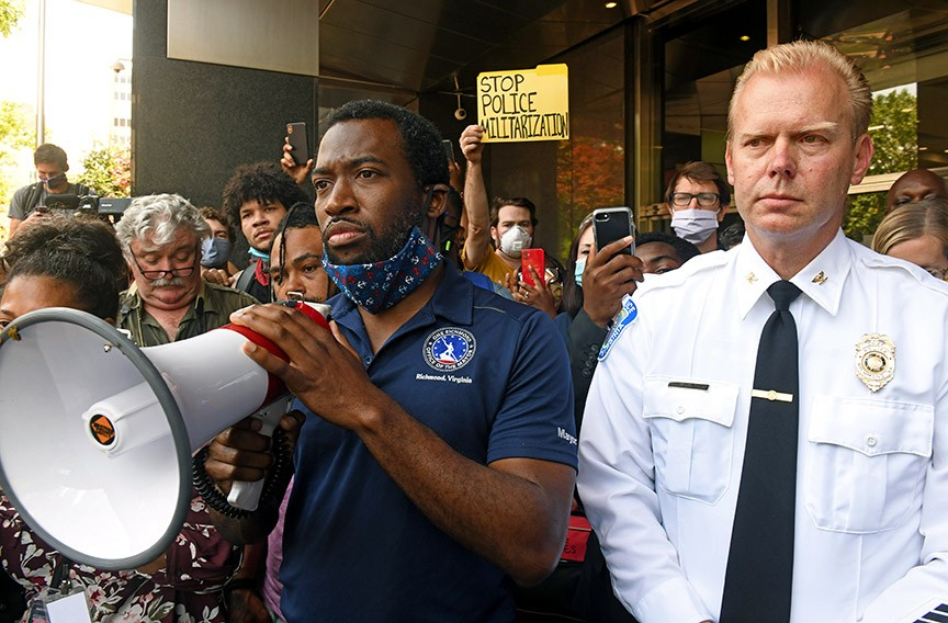 Stoney and then-Police Chief Will Smith address protesters the morning of June 2 outside City Hall. - SCOTT ELMQUIST