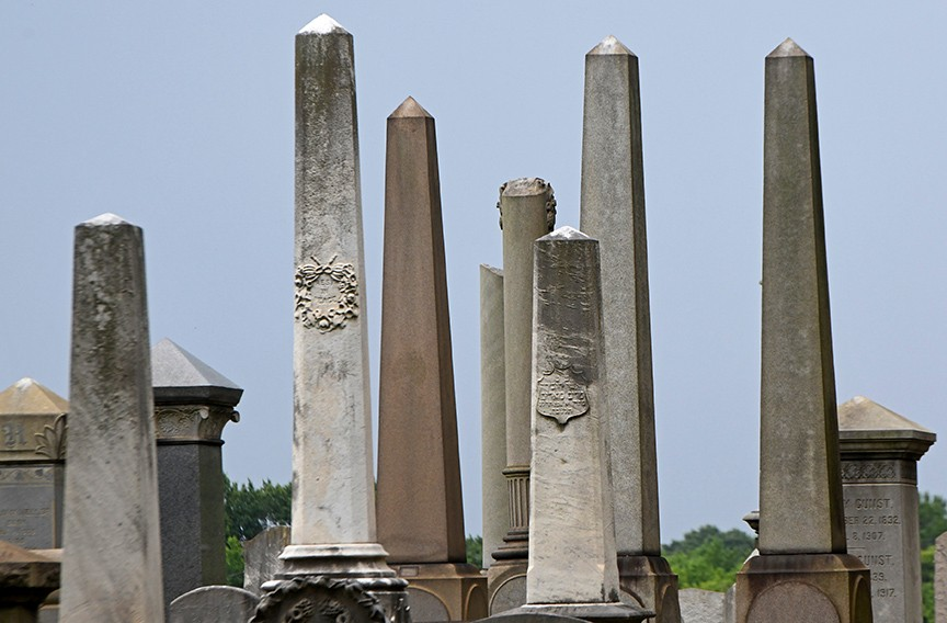 Egyptian-style obelisks in the Hebrew Cemetery at North Fourth and Hospital streets. - SCOTT ELMQUIST