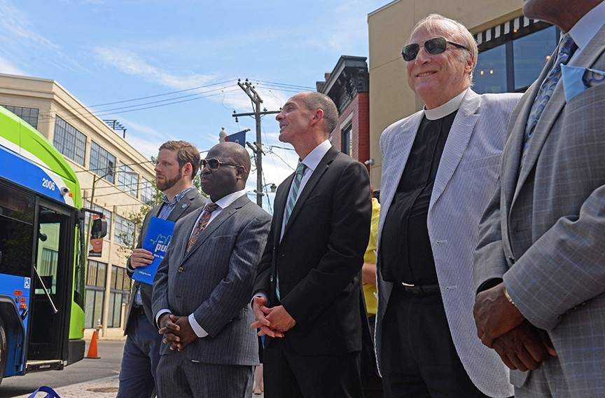 Campbell at the launch of the GRTC Pulse service in 2018. Today he notes that Richmond has the smallest public transportation footprint for any city of more than a million people worldwide. He would remedy this with a fully effective network, some 120 to 150 miles, across major metropolitan arteries. - SCOTT ELMQUIST/FILE