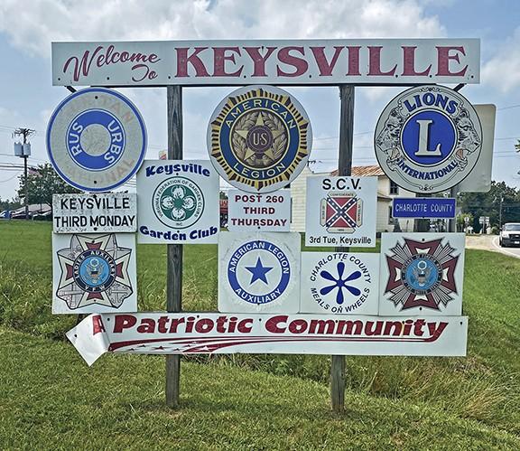 Welcome to Keysville sign. - SCOTT ELMQUIST
