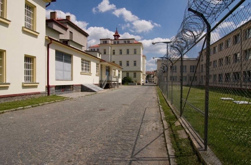 The entrance of the infamous Pankrác Remand Prison, which opened in 1889 and was used by the German Gestapo from 1939 to 1945 for beheadings of Czech prisoners. Blythe was mixed in with prisoners awaiting charges as well as those serving 20- to 30-year bits, he says. - PANKRÁC PRISON