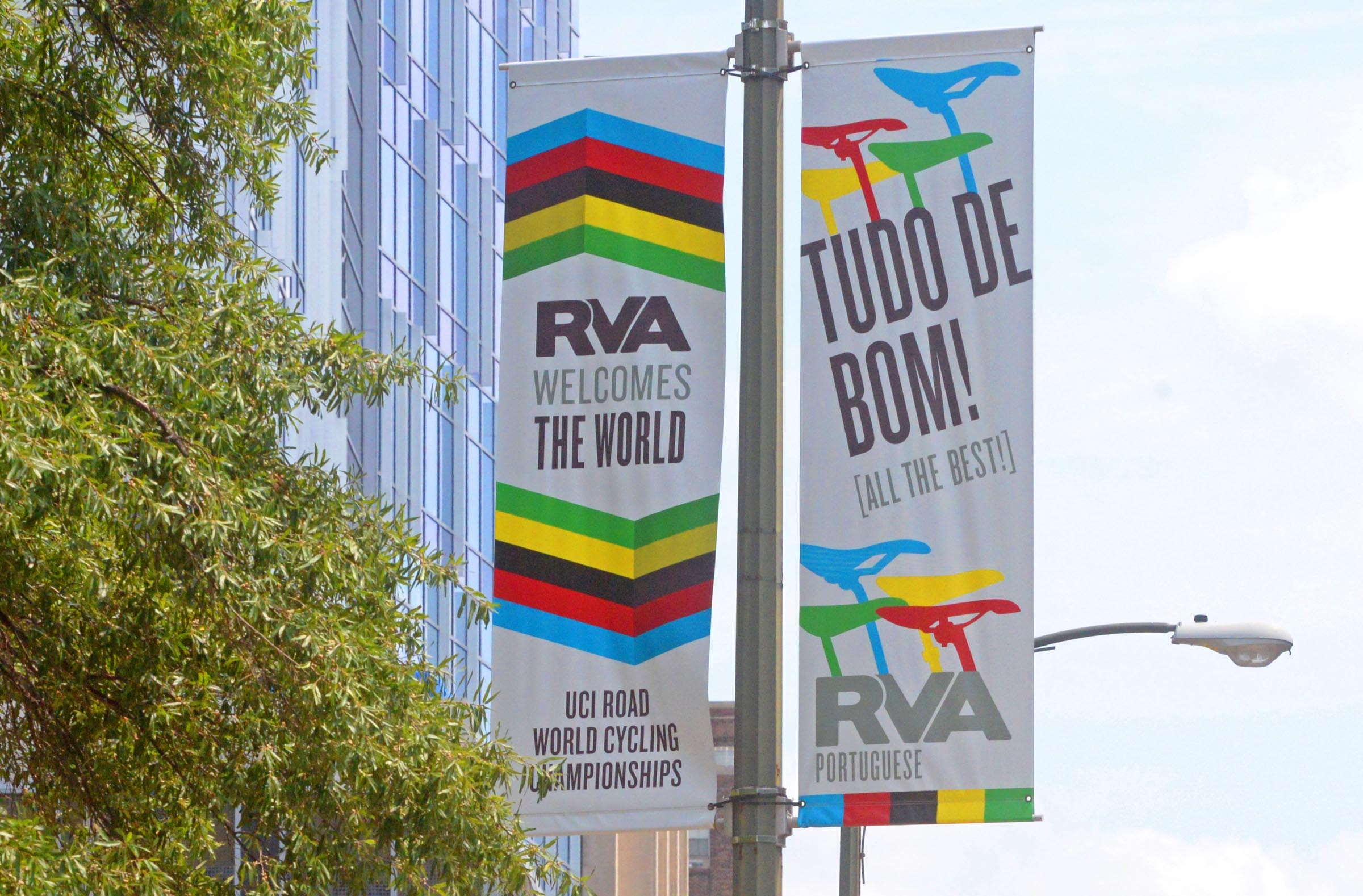 Colorful banners in the 900 block of East Broad are among 200 now installed that will welcome visitors to Richmond in 18 languages.