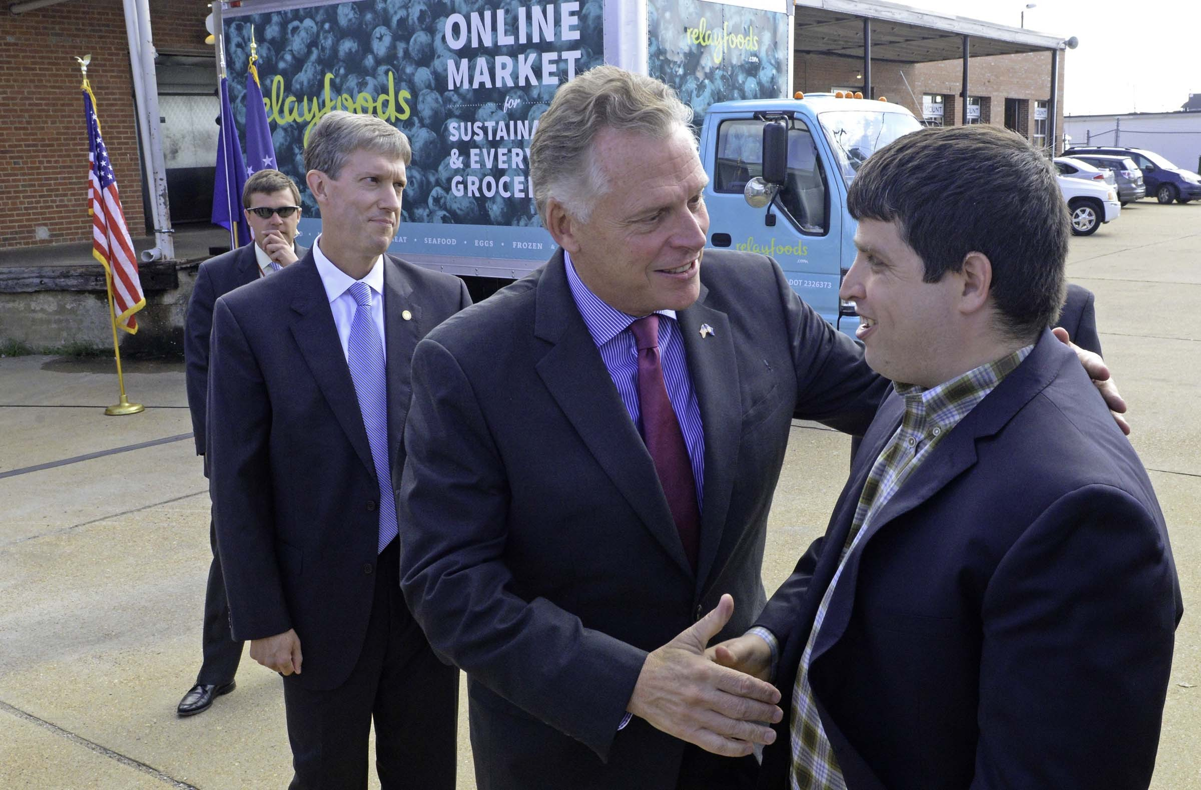 As he did during a promotion of the online grocer Relay Foods, Gov. Terry McAuliffe has been beating the economic drum. - SCOTT ELMQUIST