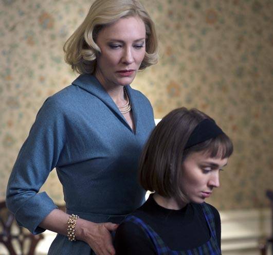 The always brilliant Australian actress and theater director Cate Blanchett plays a society woman attracted to Rooney Mara, a New York shop girl, in the latest period piece by director Todd Haynes.