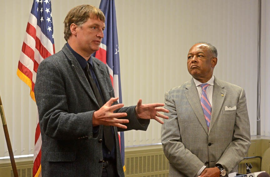 Thad Williamson, head of the mayor's Office on Community Wealth Building, speaks during the announcement of his appointment in April 2014. On leave as a University of Richmond professor, he was charged with getting the office up to speed to tackle poverty. - SCOTT ELMQUIST