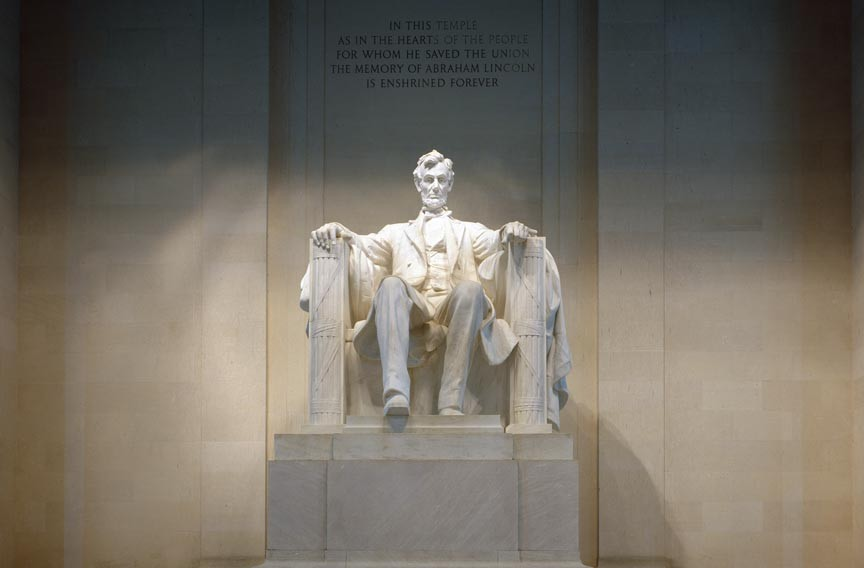 Sculpted figures shown seated can be heroic and approachable as at the Lincoln Memorial in Washington. - LIBRARY OF CONGRESS