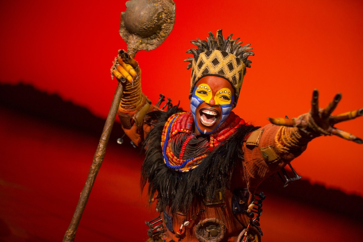 """Mukelisiwe Goba as the lovable Rafiki in this year's adaptation of """"The Lion King"""" musical at Altria Theater through Sunday, May 8."""