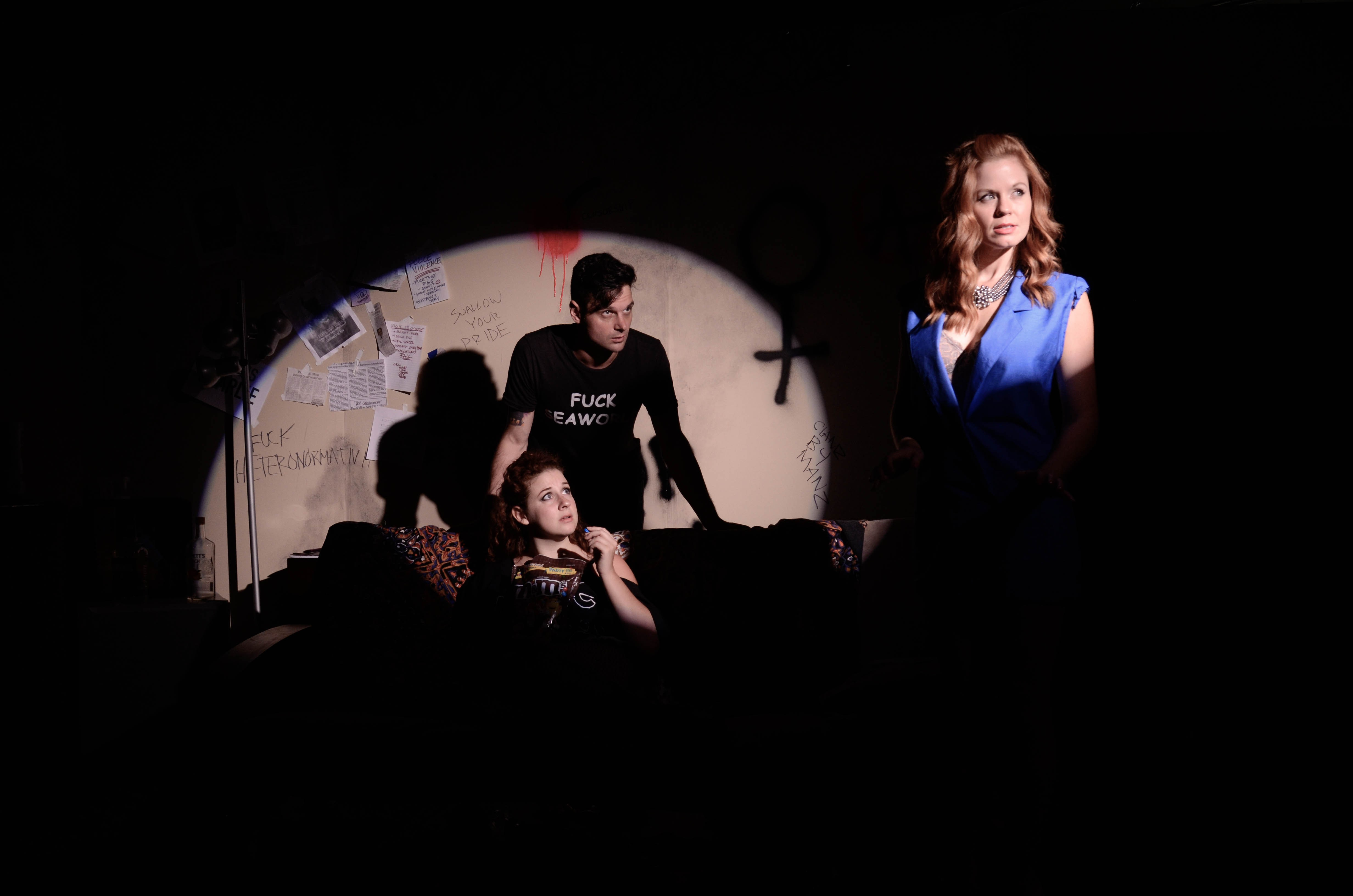 "Morgan Meadows (Cybil), Evan Nasteff (Swallow), and McLean Jesse (Sydney) in ""The Altruists"" at TheatreLab."