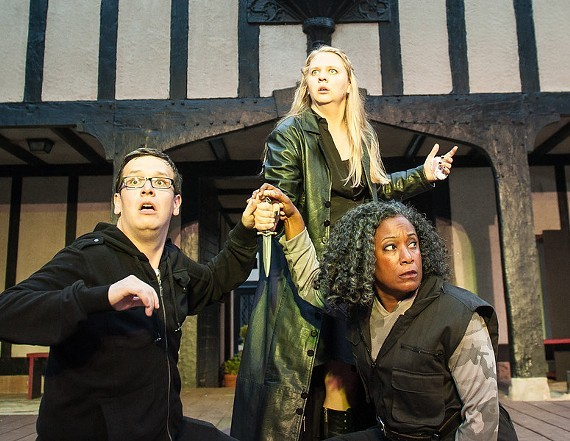 "Molly Hood as Hamlet, Thomas Cunningham as Horatio and Patricia Alli as Marcellus in a 2015 production of ""Hamlet"" by Quill Theatre."