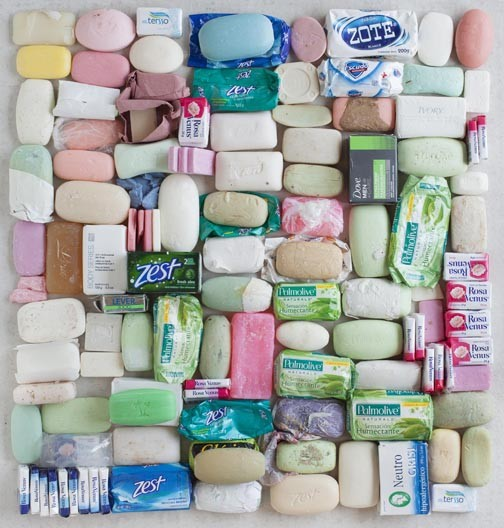 "Tom Kiefer's ""Soap"" from the series El Sueno Americano, shows unessential property disposed during the U.S.  intake of immigrant detainees."