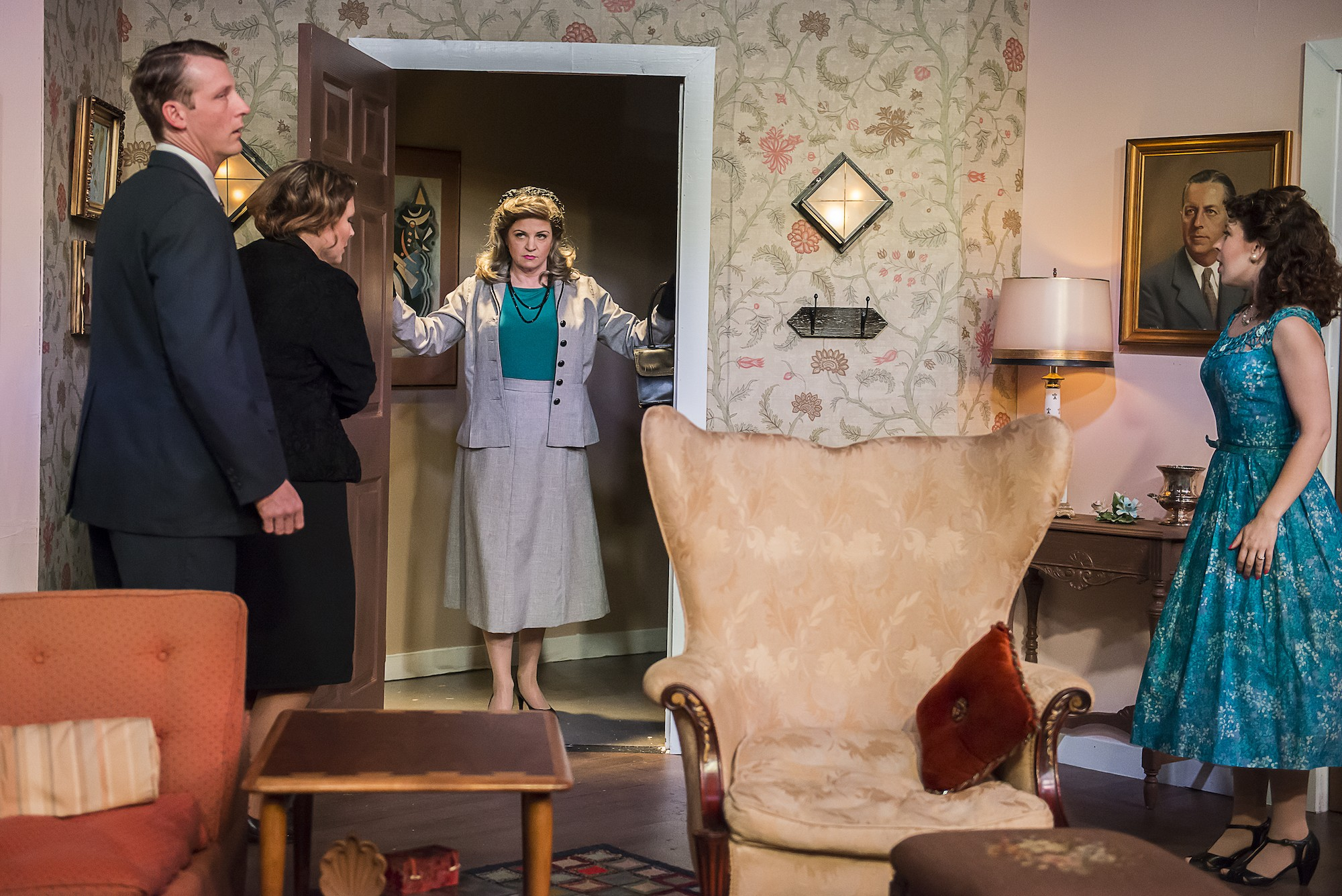 "Secrets start tumbling out with the arrival of Barbara Grant (Jennifer Frank, center) for Jim (Stevie Rice), Norma (Tara Callahan Carroll) and Mildred (Louise Ricks) in Topher Payne's provocative comedy ""Perfect Arrangement,"" playing now through Oct. 22 at Richmond Triangle Players, 1300 Altamont Avenue in Scott's Addition."