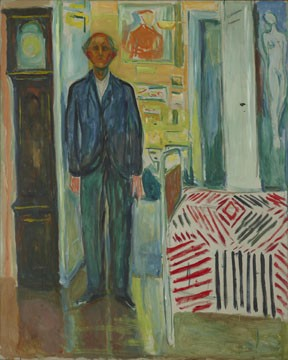 "Norwegian painter Edvard Munch's ""Self-Portrait between the Clock and the Bed"" (1940-1943)."