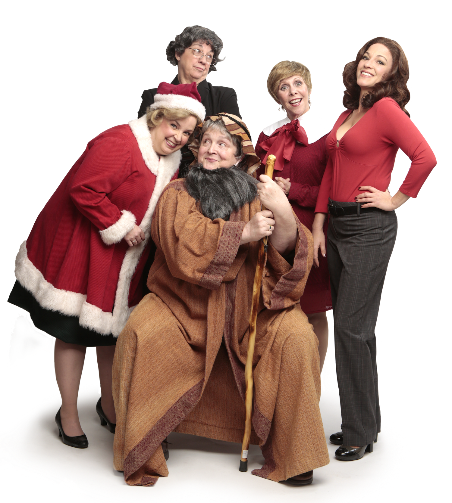 """The cast of """"The Charitable Sisterhood Christmas Spectacular"""" playing at Virginia Rep's Hanover Tavern location."""