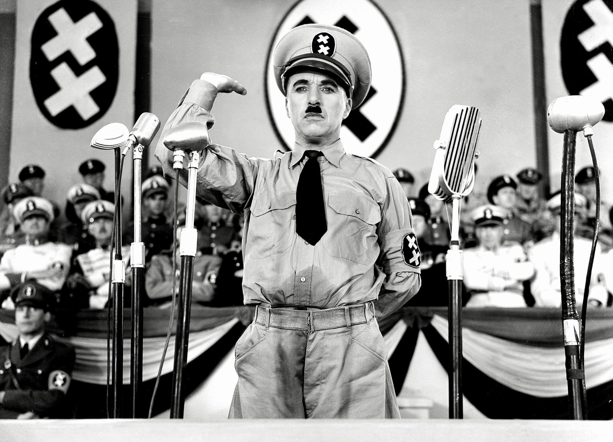 """Charlie Chaplin in """"The Great Dictator."""""""