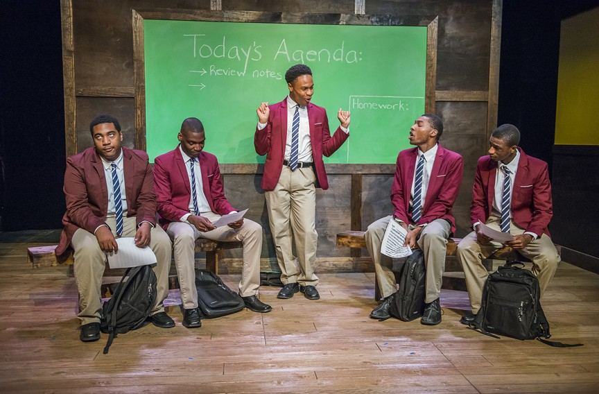 "Pharus (played by Jamar Jones, center) tries to pull his fellow choir members (Akiel Baldwin, Jay Banks, Keaton Hillman and Elijah Jefferson)  together in harmony in Tarrell Alvin McRaney's play ""Choir Boy,"" produced by Richmond Triangle Players in collaboration with The Heritage Ensemble Theatre Company, as a part of Richmond's Acts of Faith festival.  The production runs through March 18. - JOHN MACLELLAN"