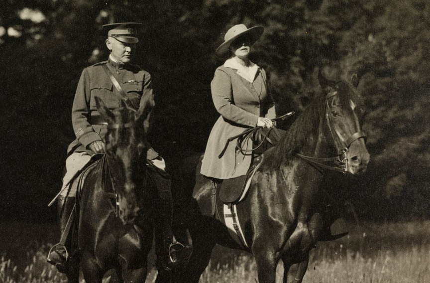 Col. Henry Anderson and Queen Marie make a hospital inspection tour in Romania on horseback. - VIRGINIA HISTORICAL SOCIETY