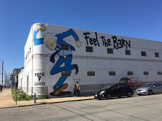 A photo from April of 2016 after artist Mickael Broth painted his mural of then-candidate Bernie Sanders at 3300 W. Broad St.