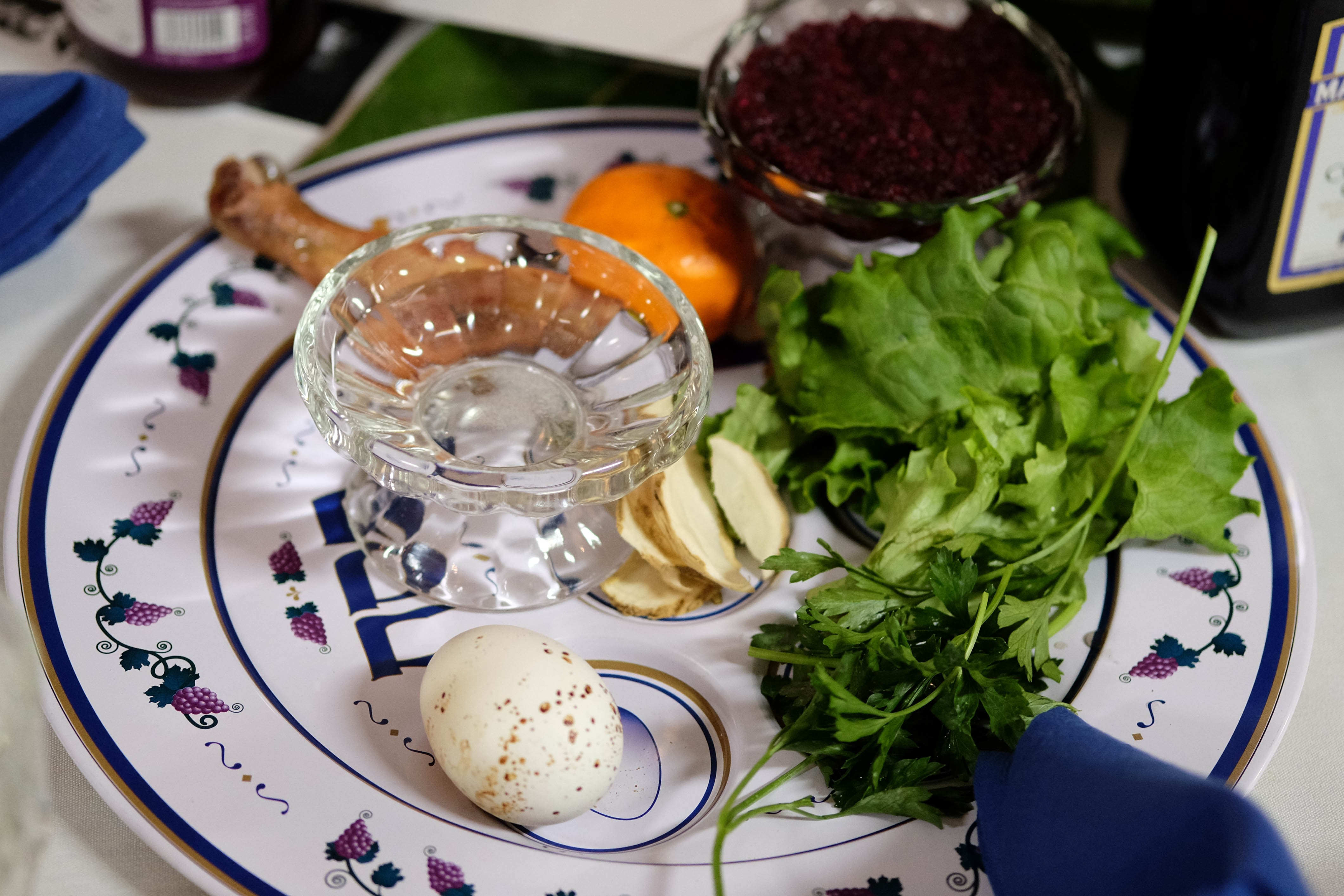 The traditional Passover Seder plate. Seder marks the beginning of the Passover week and commemorates the ancient exodus of Jews from Egypt. - JACKIE KRUSZEWSKI