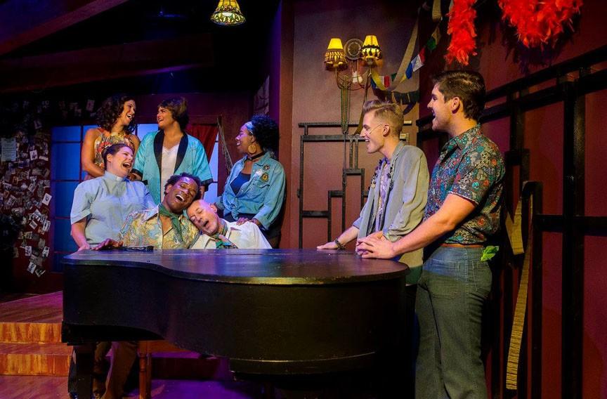 "From left: Bianca Bryan, Tara Callahan Caroll, Michael Schimmele, Andrew Etheridge, Dough Schneider, Chloe Williams Green, Dale Sampson and Luke Newsome in RTP's ""The View UpStairs."""