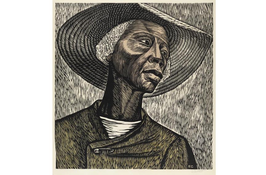"""Sharecropper"" is  by Elizabeth Catlett."