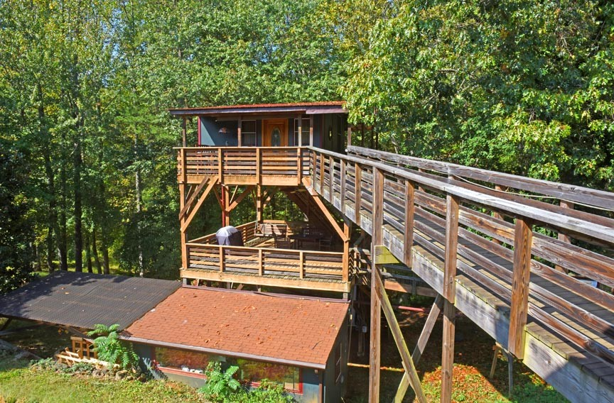 The Treehouse and Skywalk at White Lotus is one of several treehouses available for vacation rental in mountainous areas of Virginia. - SCOTT ELMQUIST