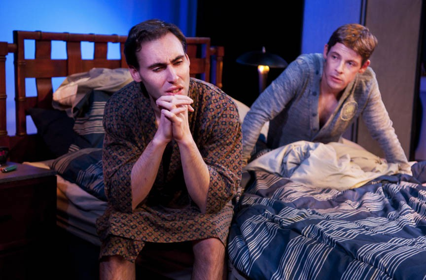 "Nicholas Wilder and Nick Baldock get a rude awakening in ""2 Boys in a Bed on a Warm Winter's Night."" - JOHN MACLELLAN"