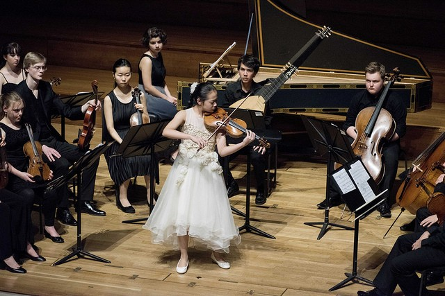 A photo of the 2016 Competition Jr. Finals in London with first prize violinist, Yesong Sophie Lee. Lee performed with the Richmond Symphony and violinist Joshua Bell for its opening concert in September.
