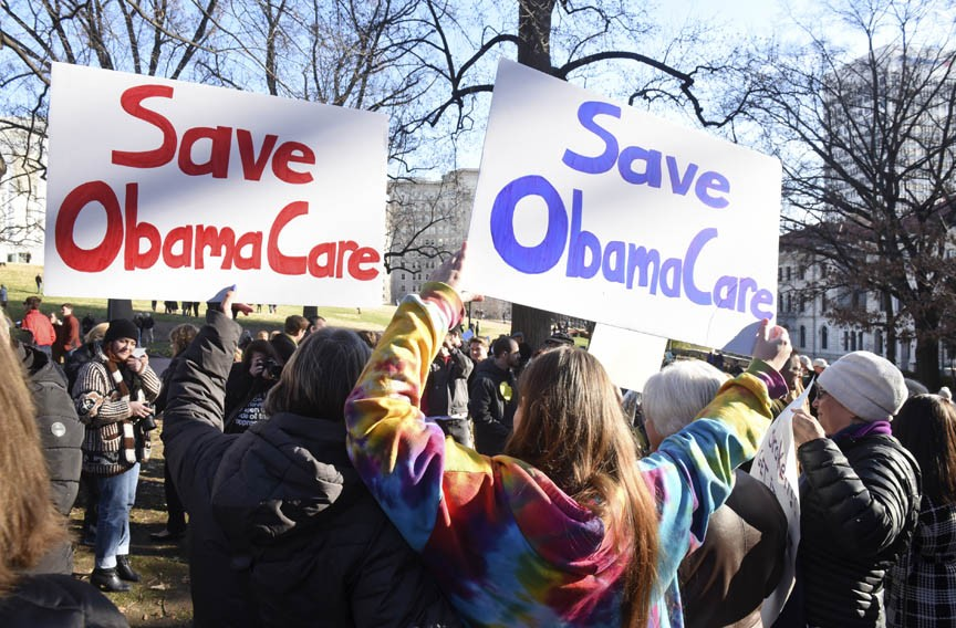 Protesters support the ACA at Capitol Square at a Save Our Health Care rally on Jan. 15, 2017. - SCOTT ELMQUIST