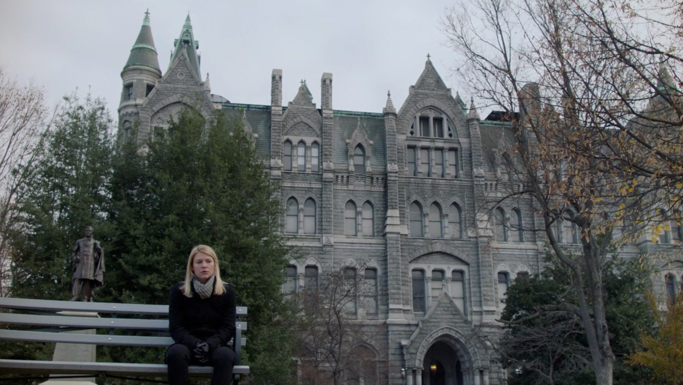 """Actress Claire Danes sits with a backdrop of Old City Hall at 1001 E. Broad St. in all its Victorian Gothic glory. Screenshot from last night's """"Homeland"""" episode, """"Species Jump."""""""