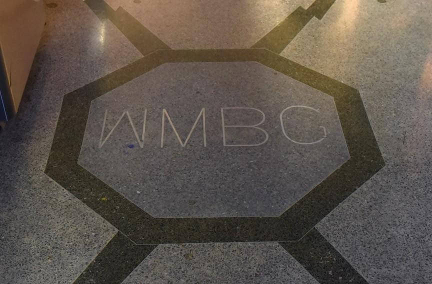 WMBG logo in the floor of the current WTVR breakroom. - SCOTT ELMQUIST