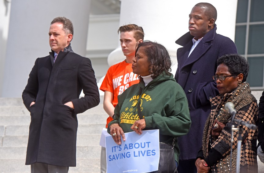 Kamras stands on the steps of the State Capitol during the March for Our Lives gun violence protest March 24. - SCOTT ELMQUIST
