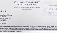 Mayor Stoney Receives Letter of Support for Renaming Boulevard From Former New York City Mayor