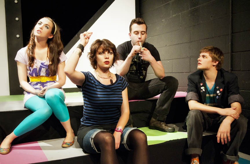 """""""Um, has anyone here seen 'The Breakfast Club'?"""" Courtney McCotter, Kerry McGee, Alexander Gerber and Joe Winters get a well-rounded education in """"Stupid Kids."""" - JOHN MACLELLAN PHOTOS & DESIGN"""