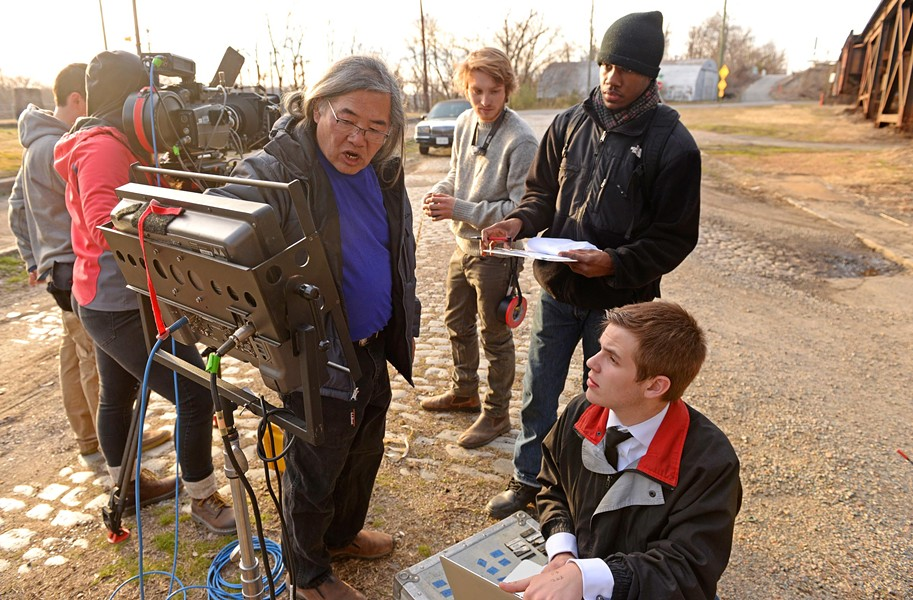 "VCU adjunct professor Art Eng, left, instructs students, including, from right, script supervisor Nick Atanasio, video assistant Payton Harbour and VCU cinema alumnus and assistant camera, Caleb Plutzer. The cinema department also is offering a class comparing film depictions of ""Macbeth"" with Macfadyen's production. - SCOTT ELMQUIST"