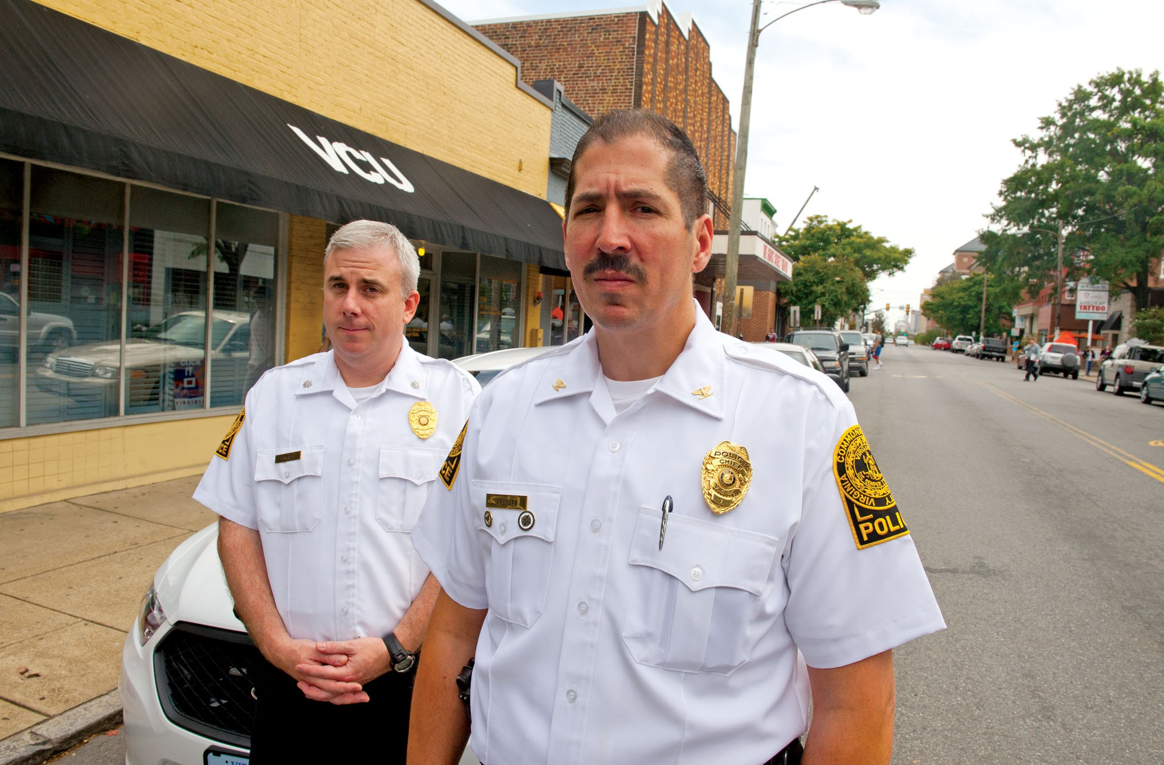 VCU Police Chief John Venuti and Assistant Chief Chris Preuss, left, say violent crime on campus is actually decreasing, despite an increase in news reports over the last few weeks. - SCOTT ELMQUIST