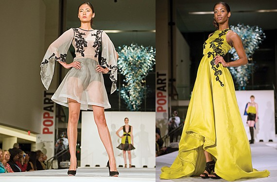 VCU senior fashion design student Krystal Vaquerano created sheer, hand-embroidered dresses inspired by baroque and rococo architecture for the department's juried fashion show on May 5. - ASH DANIEL