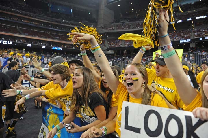 VCU's student section is filled to capacity with fans who took a 27-hour trip on charter buses. - SCOTT ELMQUIST